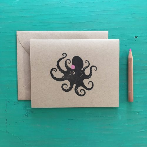 Dancing Octopus Letterpress Card
