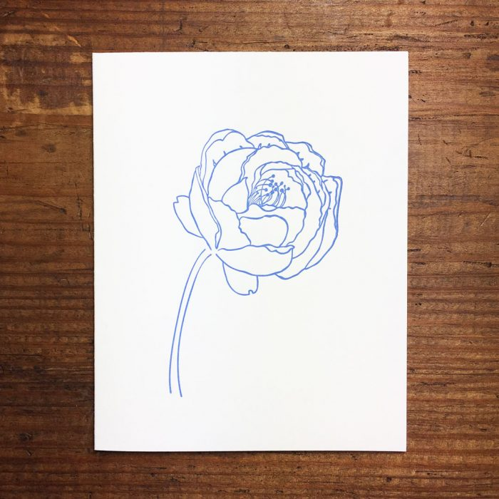 Peony Letterpress Card by Heather Ferreira