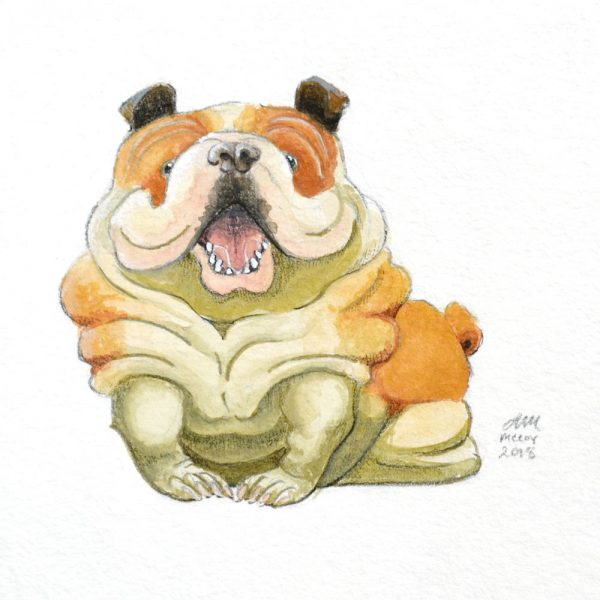 Portrait-of-Bulldog-in-gouache-and-colored-pencil