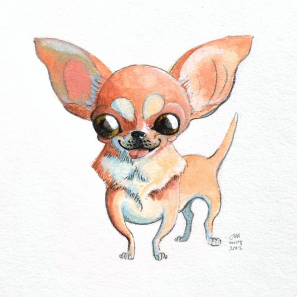 Portrait-of-Chihuahua-in-gouache-and-colored-pencil