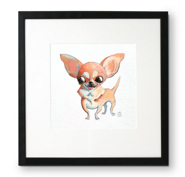Framed-portrait-of-Chihuahua-in-gouache-and-colored-pencil