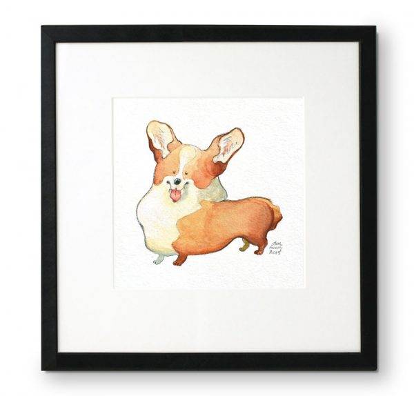 Framed-portrait-of-Corgi-in-gouache-and-colored-pencil