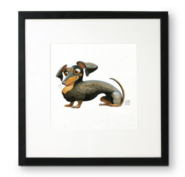 Framed-portrait-of-Dachshund-in-gouache-and-colored-pencil