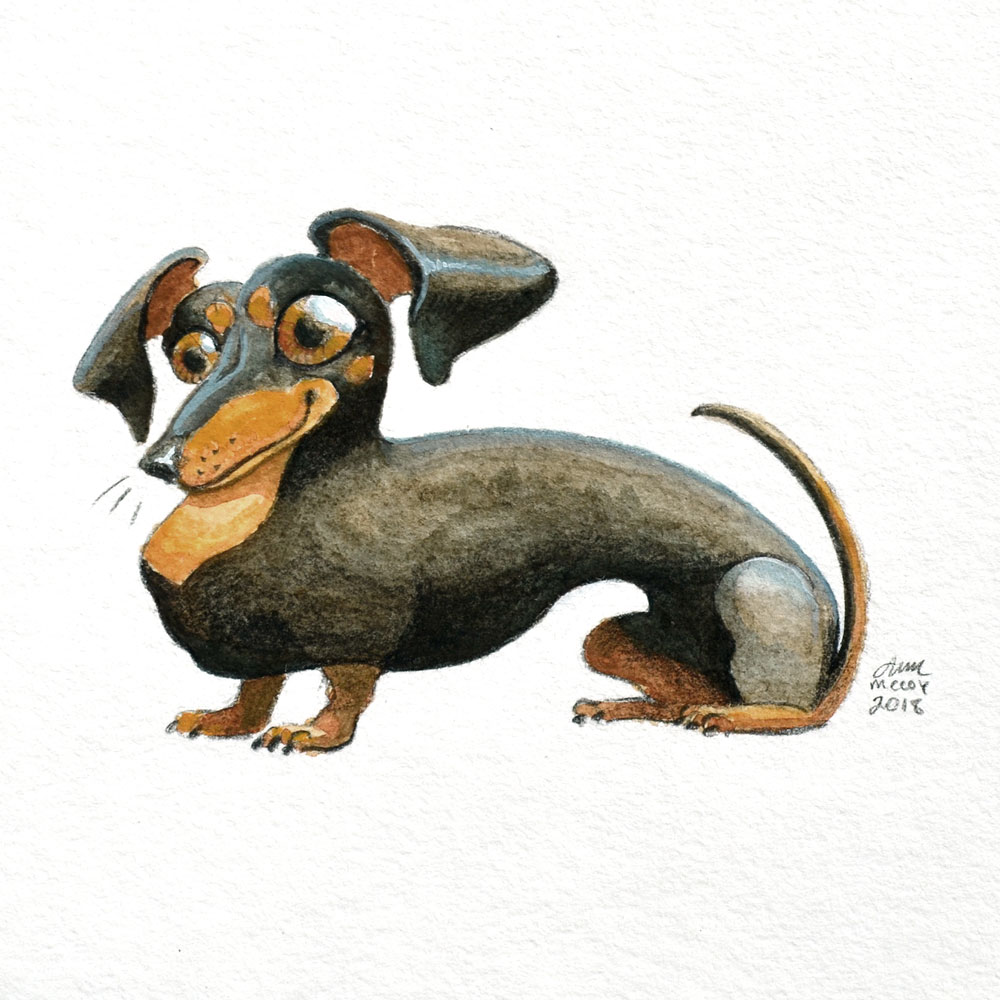 Portrait-of-Dachshund-in-gouache-and-colored-pencil