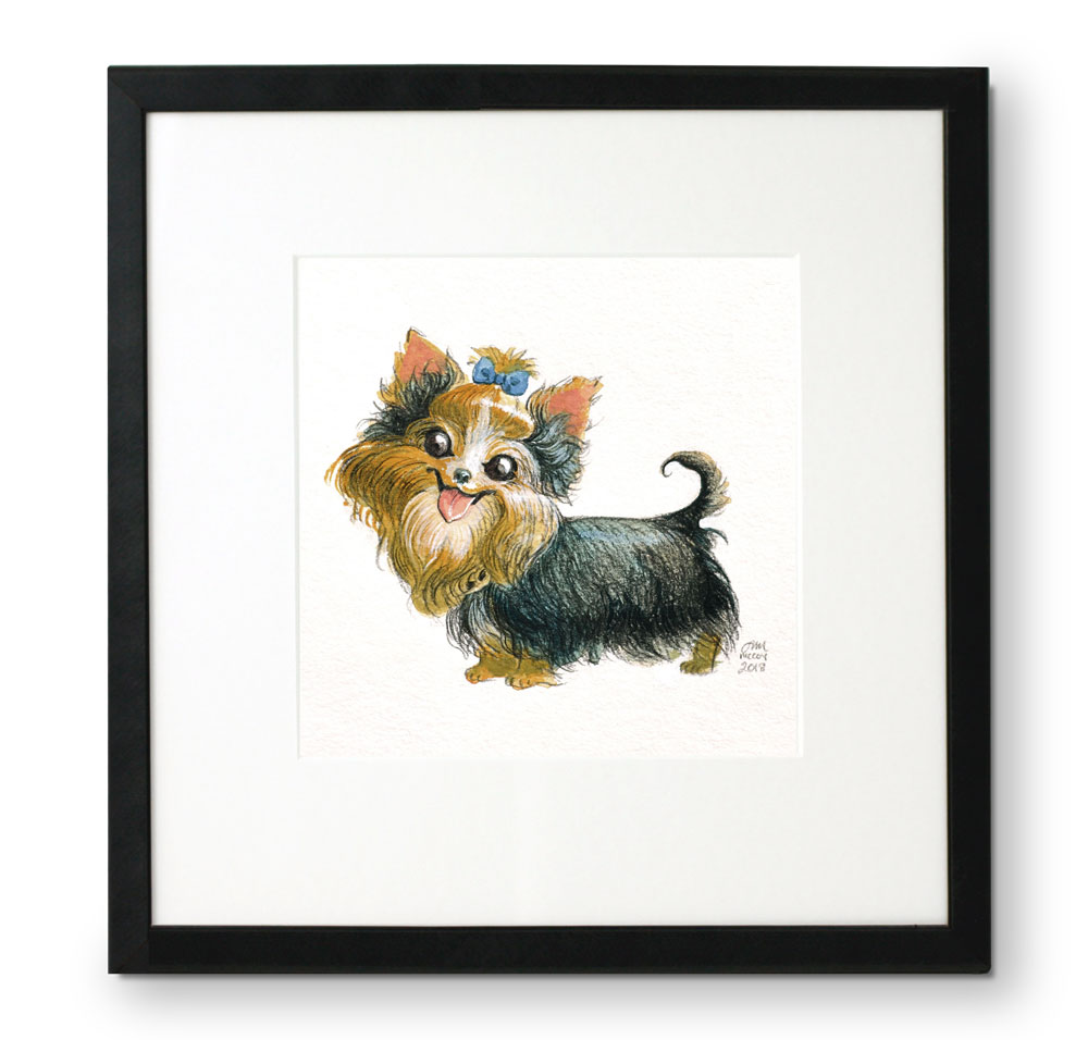 Framed-portrait-of-Yorkie-in-gouache-and-colored-pencil