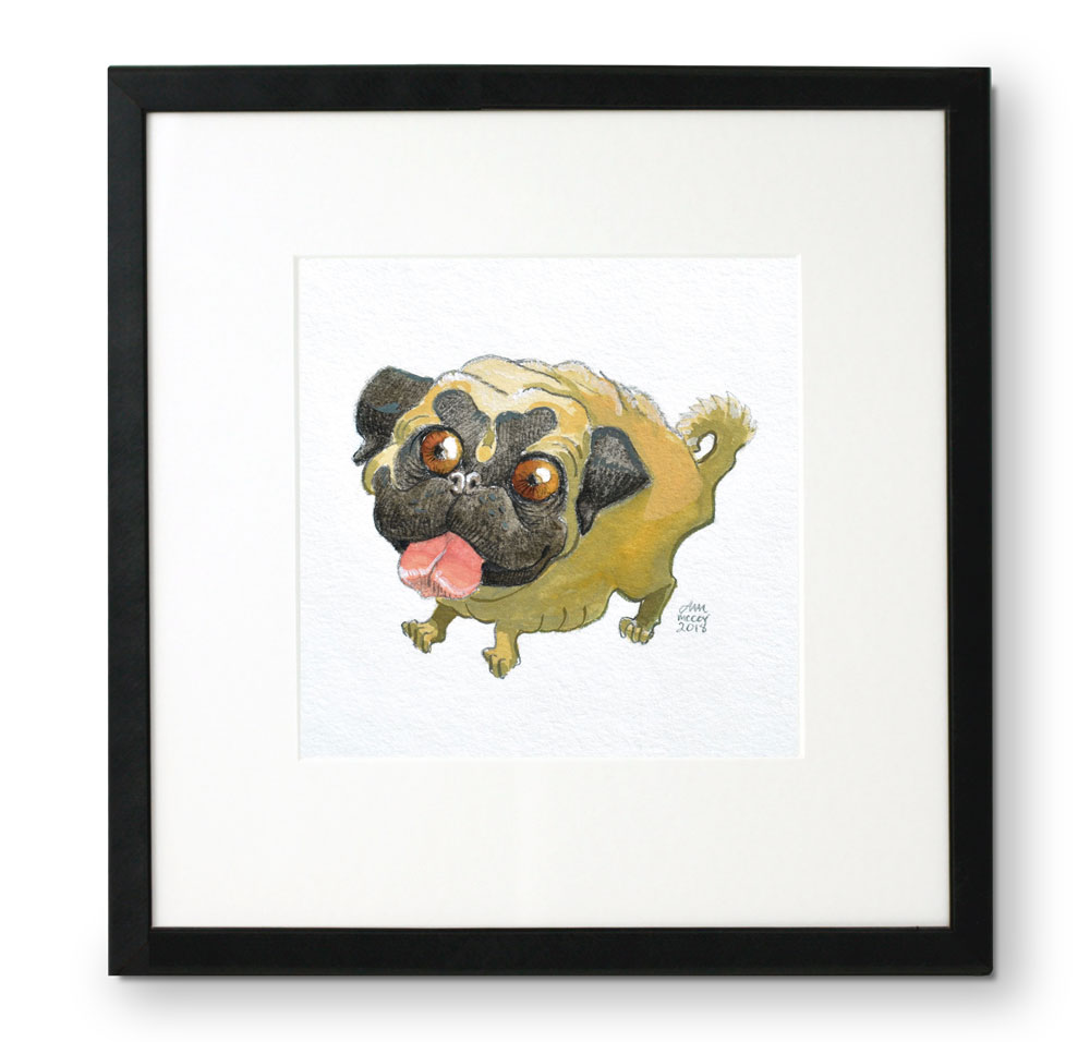 Framed-portrait-of-Pug-in-gouache-and-colored-pencil-by-Abigail-McCoy