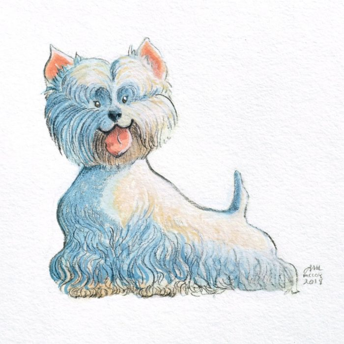 Portrait-of-Westie-in-gouache-and-colored-pencil-by-Abigail-McCoy