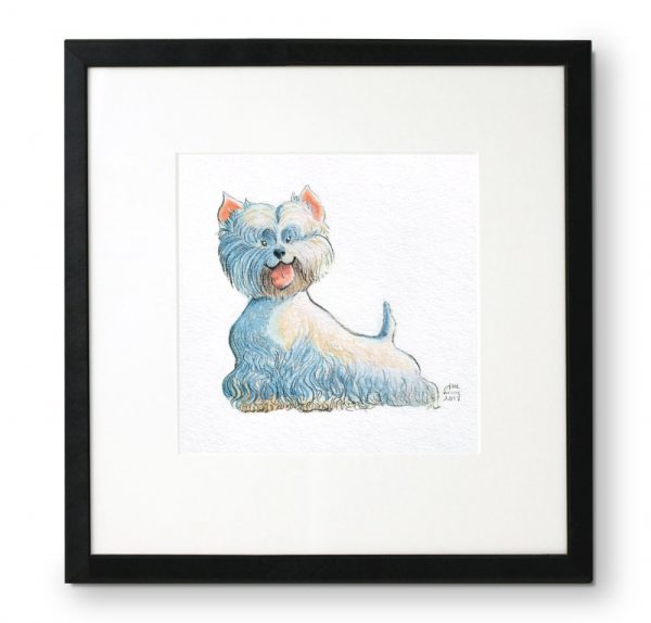 Framed-portrait-of-Westie-in-gouache-and-colored-pencil-by-Abigail-McCoy