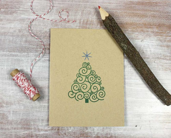 Holiday Tree Letterpress Card by Heather Ferreira