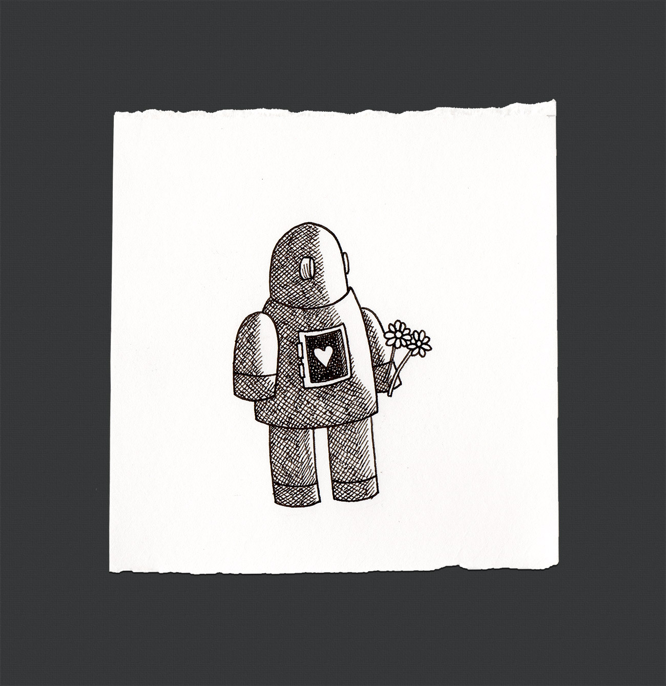 Robot with Heart Pen and Ink by Jamison Odone
