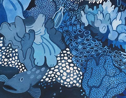 Blue tone painting of coral reef structure done in gouache