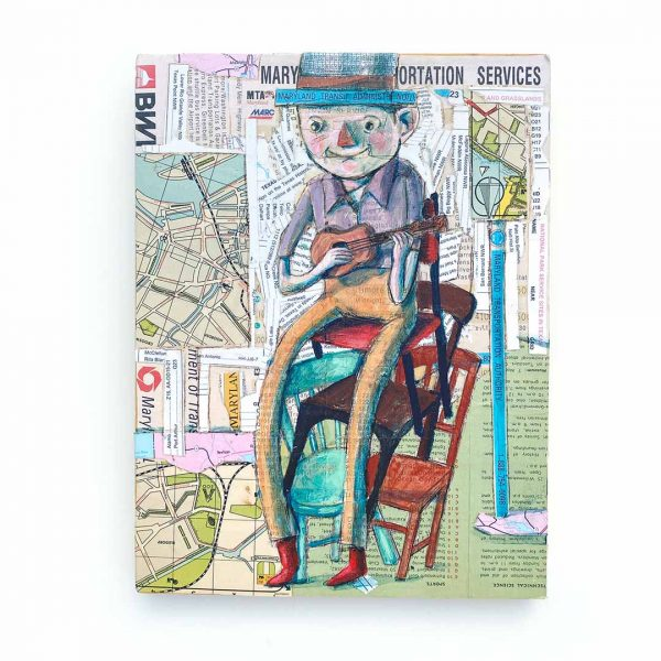 Mixed media piece of man in chair with hat