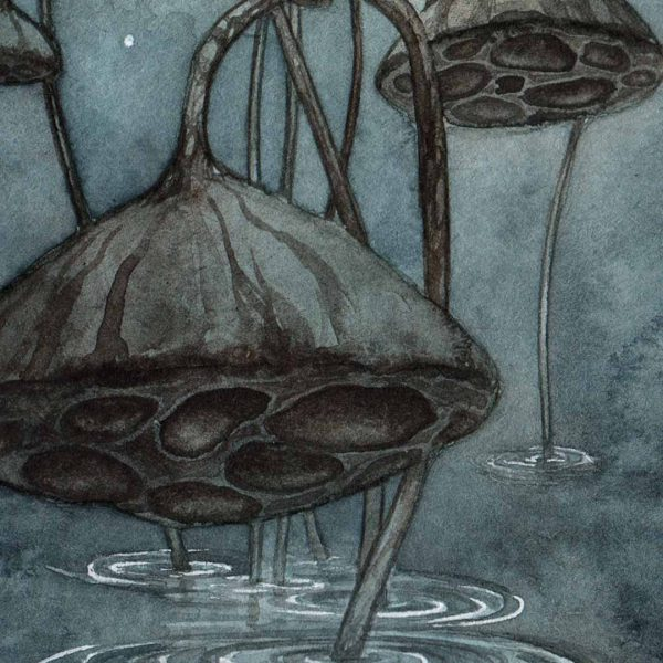 Detail of Print of Eight of Cups Tarot done in watercolor