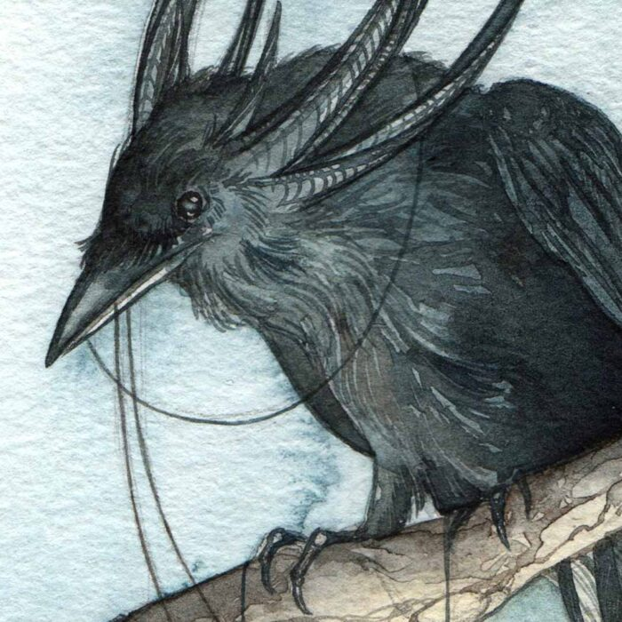 Original Watercolor of Horned Raven holding lanterns