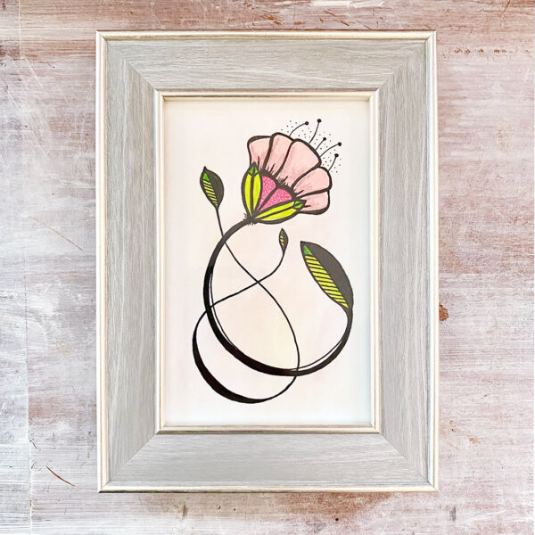 4x6 drawing of a single art deco style flower in pinks, greens and black in silver frame