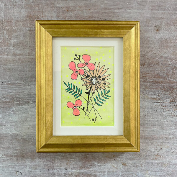 Mini 2x3 drawing of three pink flowers, a peach flower and ferns on a light green background with subtle dots. Matted in 4x5 gold frame.
